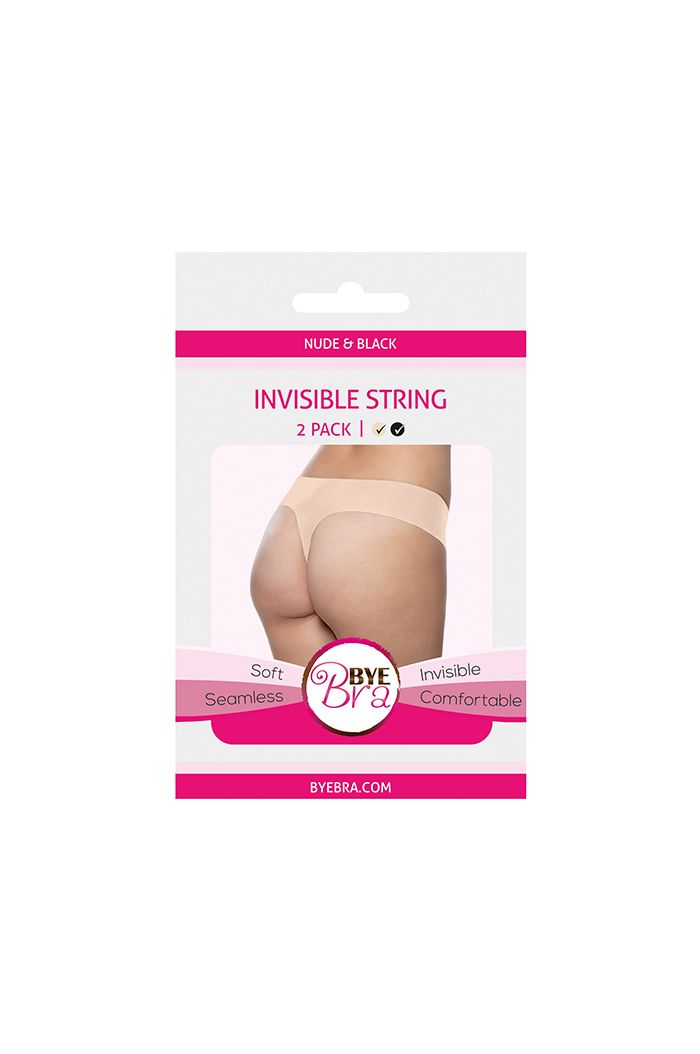 Bye Bra - Invisible String (Nude & Black 2-Pack) L