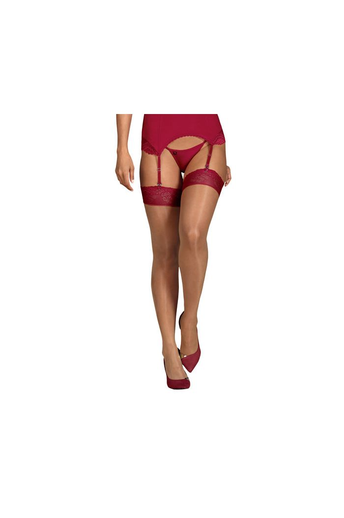 Obsessive - Rosalyne Stockings Red L/XL